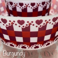 Burgundy New Heart Gingham Check Grosgrain Ribbon