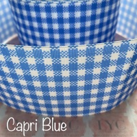 Capri Blue New Gingham Check Grosgrain Ribbon