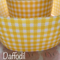 Daffodil New Gingham Check Grosgrain Ribbon