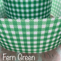 Fern Green New Gingham Check Grosgrain Ribbon