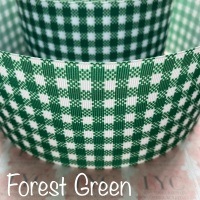 Forest Green New Gingham Check Grosgrain Ribbon