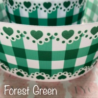 Forest Green New Heart Gingham Check Grosgrain Ribbon