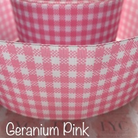 Geranium Pink New Gingham Check Grosgrain Ribbon