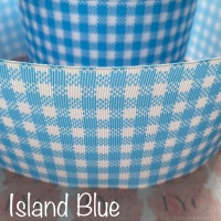 Island Blue New Gingham Check Grosgrain Ribbon