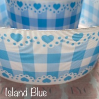 Island Blue New Heart Gingham Check Grosgrain Ribbon