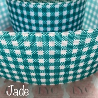 Jade New Gingham Check Grosgrain Ribbon