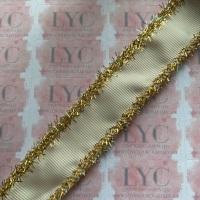 "1"" Antique White Grosgrain Ribbon with Gold & AB White Tinsel Edge"