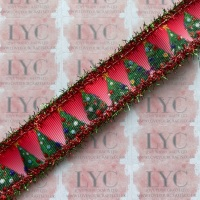 """1"""" Christmas Tree Grosgrain Ribbon with Red & Green Tinsel Edge"""