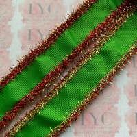 """1"""" Classical Green Grosgrain Ribbon with Red & Gold Tinsel Edge"""