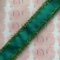 "1"" Mallard Grosgrain Ribbon with Green Tinsel Edge"
