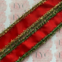 """1"""" Poppy Red Grosgrain Ribbon with Green & Gold Tinsel Edge"""