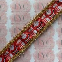 """1"""" Santa & Snowman Grosgrain Ribbon with Gold & AB White Tinsel Edge"""