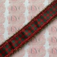 "1"" Tartan Grosgrain Ribbon with Red & Green Tinsel Edge"