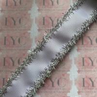 "1"" White Grosgrain Ribbon with Silver & AB White Tinsel Edge"