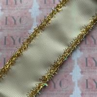 "1.5"" Antique White Grosgrain Ribbon with Gold & AB White Tinsel Edge"