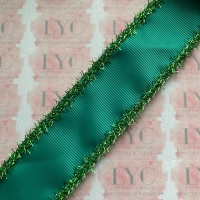 "1.5"" Mallard Grosgrain Ribbon with Green Tinsel Edge"