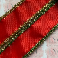 """1.5"""" Poppy Red Grosgrain Ribbon with Green & Gold Tinsel Edge"""