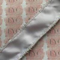 "1.5"" White Grosgrain Ribbon with Silver & AB White Tinsel Edge"
