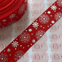 """1.5"""" Silver  Laser Snowflakes on Red Grosgrain Ribbon"""