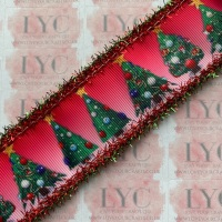 """1.5"""" Christmas Tree Grosgrain Ribbon with Red & Green Tinsel Edge"""