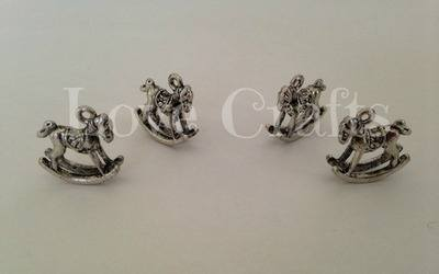 3D Silver Rocking Horse Charms