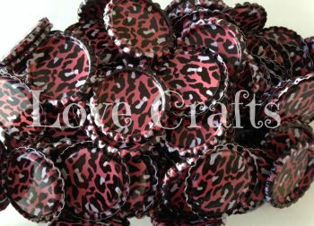 'Dark Pink Leopard' Bottle Caps