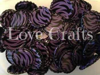 'Purple Zebra' Bottle Caps