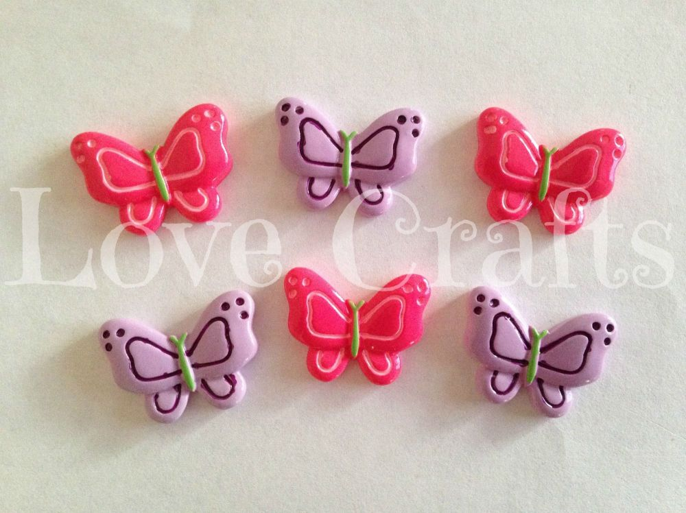 2 Butterflies - Hot Pink & Purple - Flatback Resins