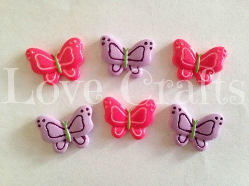 2 Butterflies - Hot Pink & Purple - Flatback Resins