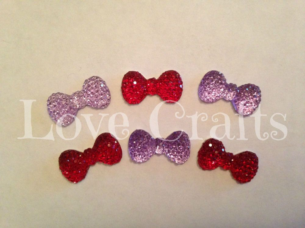 2 Bows - Red & Lilac - Flatback Resins