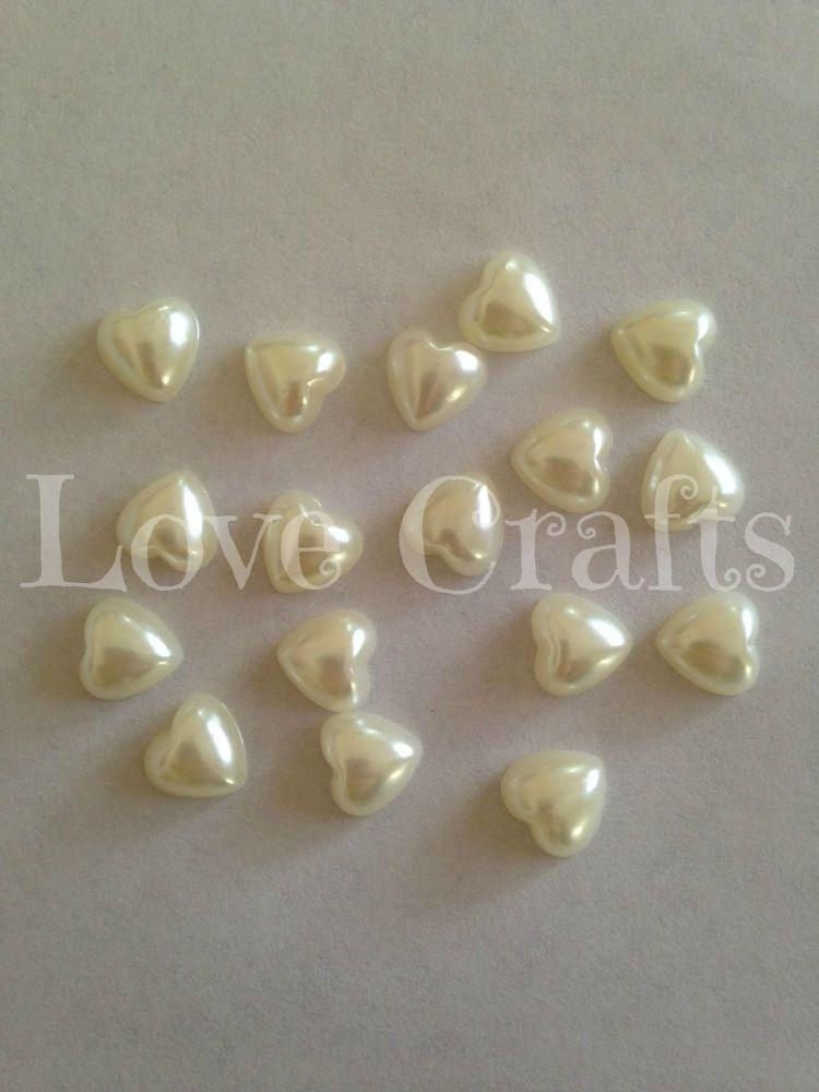 1 Ivory Heart Flatback Resin