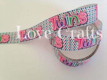 "1 metre - 7/8"" Twins Grosgrain Ribbon"