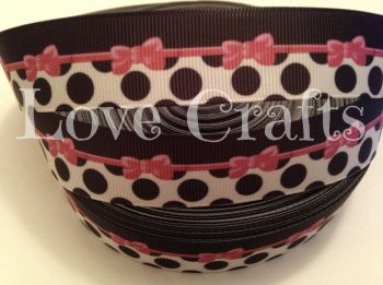 "1 metre - 1"" Pink Bow with Black Dots Grosgrain Ribbon"