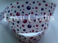 "1 metre - 1"" Purple & Lilac Bubbles Grosgrain Ribbon"