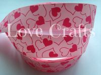 "1 metre - 1"" Light & Hot Pink Hearts Grosgrain Ribbon"