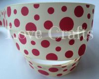 "1 metre - 1"" Crimson Dots on Cream Grosgrain Ribbon"