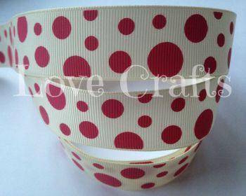 "1 metre - 1"" Crimson Dots on Cream Grosgrain Ribbon"