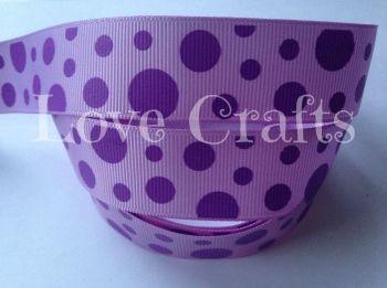 "1 metre - 1"" Purple Dots on Lilac Grosgrain Ribbon"