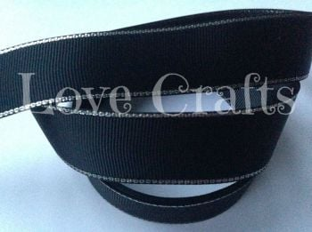 "1 metre - 1"" Black with Silver Edging Grosgrain Ribbon"