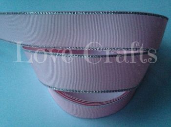 "1 metre - 1"" Light Pink with Silver Edging Grosgrain Ribbon"
