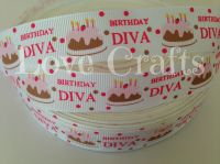 "1 metre - 7/8"" Birthday Diva Grosgrain Ribbon"