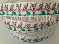 "1 metre - 7/8"" Monkeys Grosgrain Ribbon"