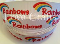 "1 metre - 7/8"" Rainbows Grosgrain Ribbon"