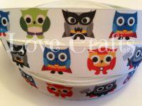 "1 metre - 7/8"" Superhero Owls Grosgrain Ribbon"
