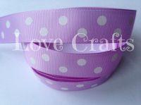 """1 metre - 7/8"""" White Double Dot on Lilac Grosgrain Ribbon"""