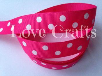 "1 metre - 7/8"" White Double Dot on Hot Pink Grosgrain Ribbon"