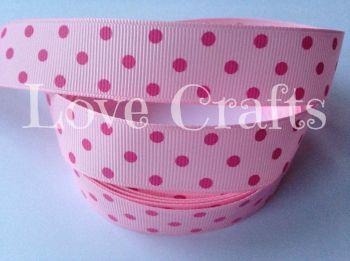 "1 metre - 7/8"" Hot Pink Triple Dot on Light Pink Grosgrain Ribbon"