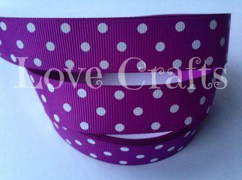 """1 metre - 7/8"""" White Triple Dot on Purple Grosgrain Ribbon"""