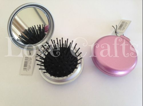 Silver or Pink Hair Brush with Mirror
