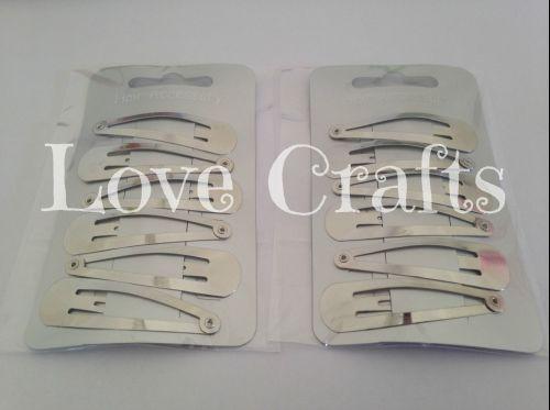 6 Set Silver Snap Hair Clips